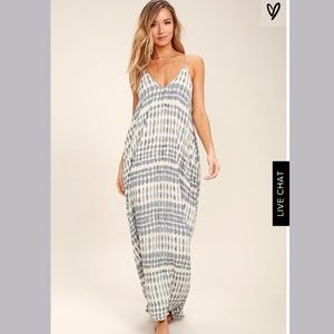 Lulu's Tide Chaser Cream & Grey Print Maxi Dress